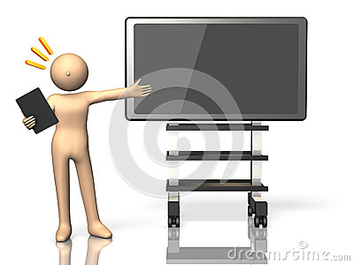 He made a presentation using the electronic blackboard.