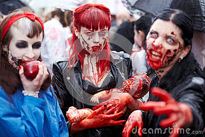 Made-up female participants at Zombie Walk Editorial Stock Photo