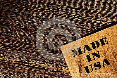Made in USA Grunge Paper on Old Wood Background