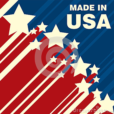 Made in USA icon concept badge design with blue and red American flag emblem elements. Vector Illustration