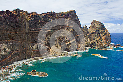 Madeira cliff with dykes