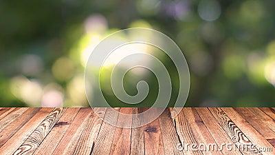 Madera de la perspectiva y fondo ligero del bokeh plantilla de la exhibición del producto Sobremesa de madera en la hoja verde na almacen de video
