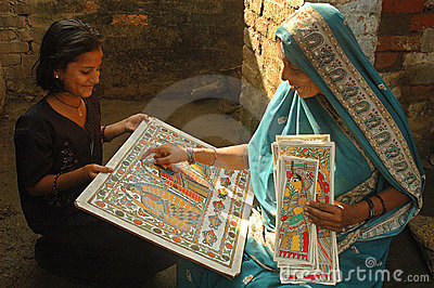 Madhubani painting in Bihar-India Editorial Photo