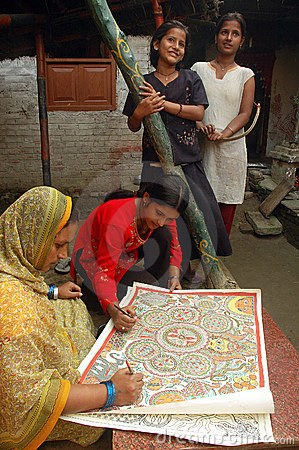 Madhubani painting in Bihar-India Editorial Image