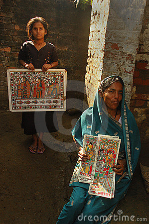 Madhubani painting in Bihar-India Editorial Stock Photo
