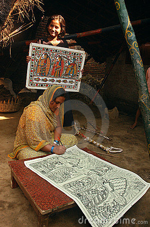 Madhubani painting in Bihar-India Editorial Photography