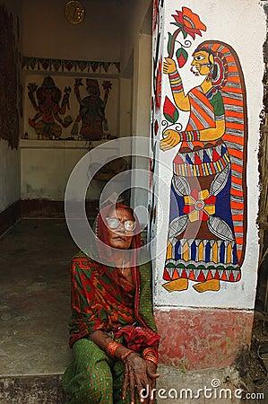 Madhubani painting in Bihar-India Editorial Stock Photo