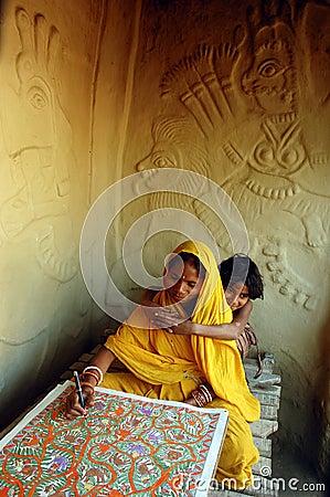 Madhubani painting in Bihar-India Editorial Photo