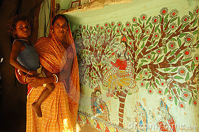 Madhubani painting in Bihar-India Editorial Photography