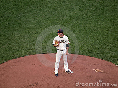 Madison Bumgarner stands on mound looking Editorial Image