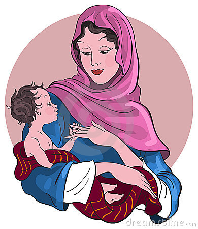 Madonna and baby Jesus. Nativity scene
