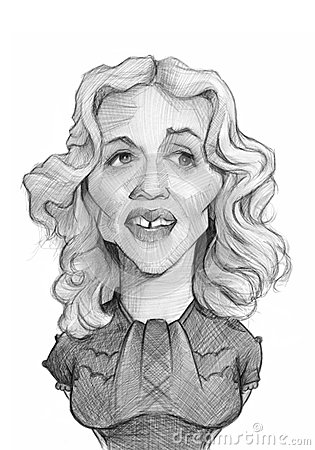 Madonna Caricature Sketch Portrait Editorial Photography