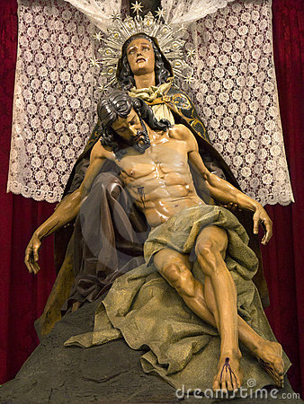 Madonna & Christ Statue - Orihuela - Spain Editorial Stock Photo