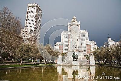 Madrid -   Cervantes monument from Plaza Espana