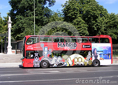 Madrid City Tour Bus Editorial Photography