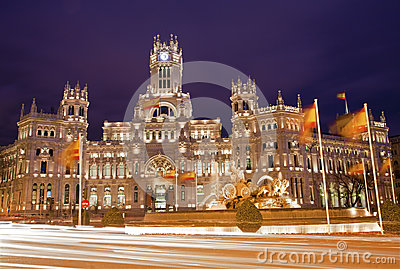 Madrid - Communications Palace from Plaza de Cibeles