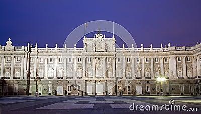 Madrid - East facade of Palacio Real in dask