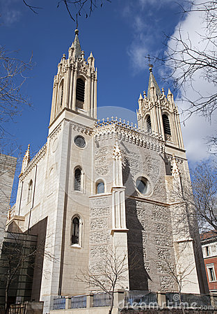 Madrid - East facade and of gothic church San Jeronimo el Real