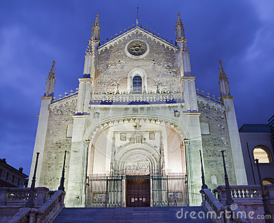 Madrid - gothic church San Jeronimo el Real in evening