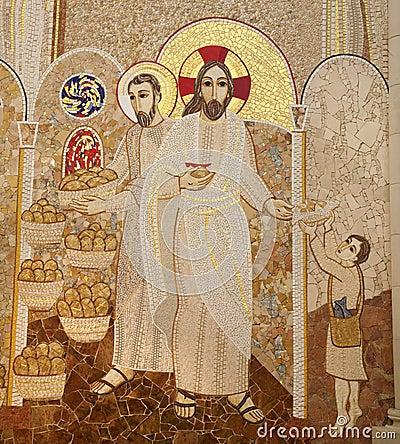 Free Madrid - Modern Mosaic Of Miracle Of Multiplying Food Stock Image - 30183571