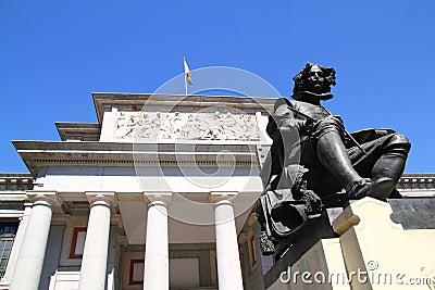 Madrid Museo del Prado with Velazquez statue