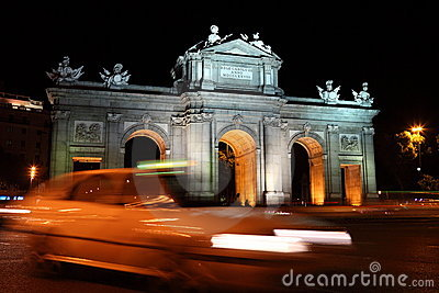 Madrid night scene at Puerta de Alaca