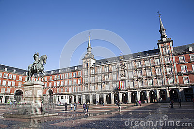 Madrid - Plaza Mayor in morning light Editorial Photography