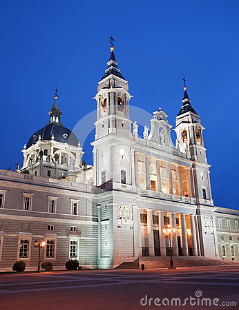 Madrid  - Santa Maria la Real de La Almudena cathedral in evening