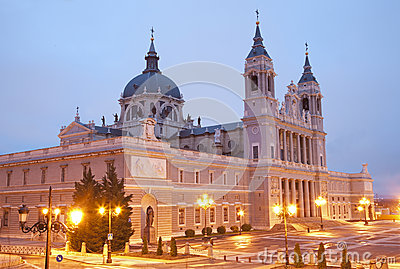Madrid  - Santa Maria la Real de La Almudena cathedral in morning