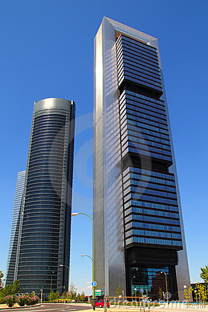 Madrid skyscrapers buildings in modern city