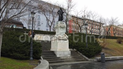 Goya statue in front the Prado Museum stock video