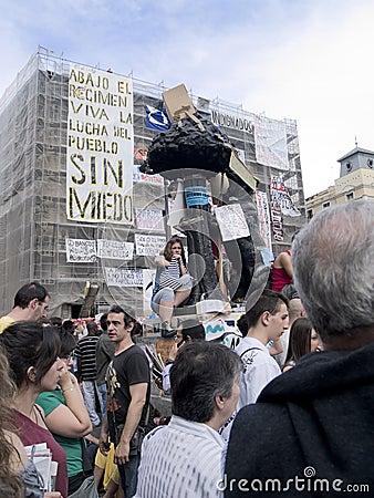 Madrid symbol at the Spanish Revolution Editorial Stock Photo