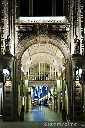 Maedler Passage in Leipzig at night Editorial Stock Photo