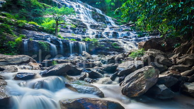 MAEYA Waterfall Famous Cascade Of Inthanon National Park, Chiangmai, Thailand (zoom out). MAEYA Waterfall Famous Cascade Of Inthanon National Park, Chiangmai stock video footage