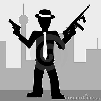 Mafia man with guns