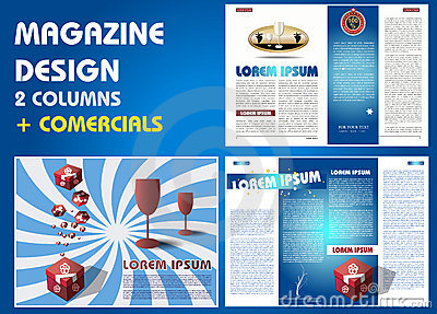 Magazine layout with commercials