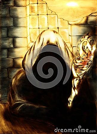 Mage in golden light