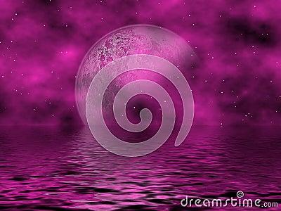 Magenta Moon & Water