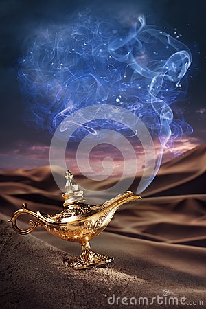 Magic Aladdin s Genie lamp on a desert