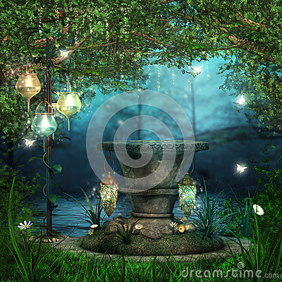 Free Magic Altar With Lanterns Stock Images - 27104254