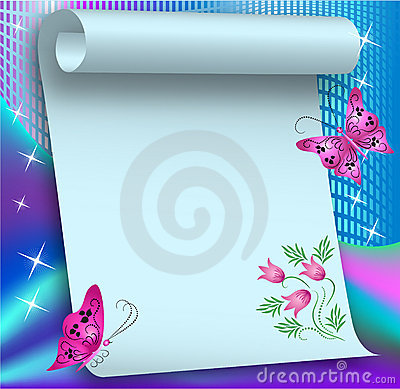 Magic background with paper scroll