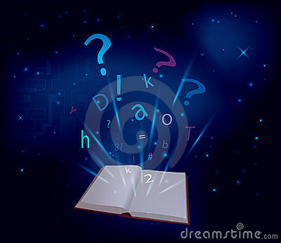 Magic book on dark blue background - vector