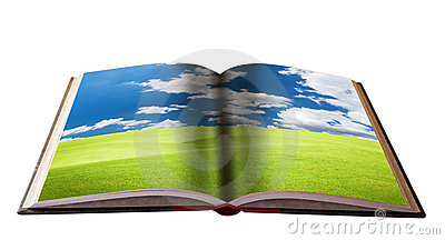 Magic book with Landscape