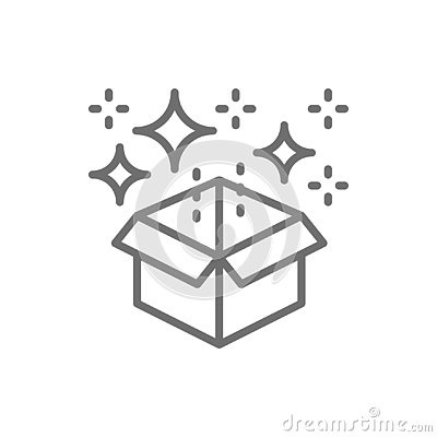 Magic box with confetti, gift line icon. Vector Illustration