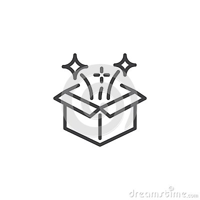 Magic box outline icon Vector Illustration