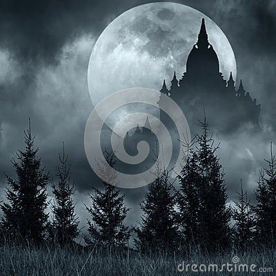 Free Magic Castle Silhouette Over Full Moon At Mysterious Night Stock Image - 44262101