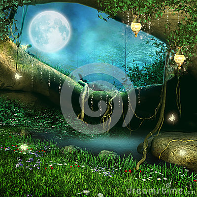 Free Magic Cave With Lanterns Stock Photo - 27104370