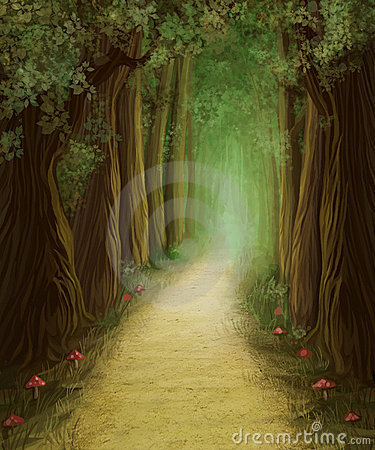 Free Magic Dark Forest Road Royalty Free Stock Photography - 19351477
