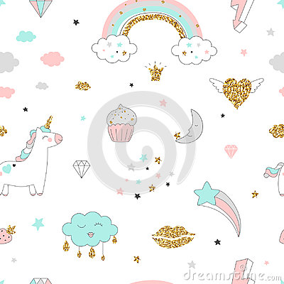 Magic design seamless pattern with unicorn, rainbow, hearts, clouds and others elements. Vector Illustration