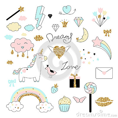 Magic design set with unicorn, rainbow, hearts, clouds and others elements. Vector Illustration
